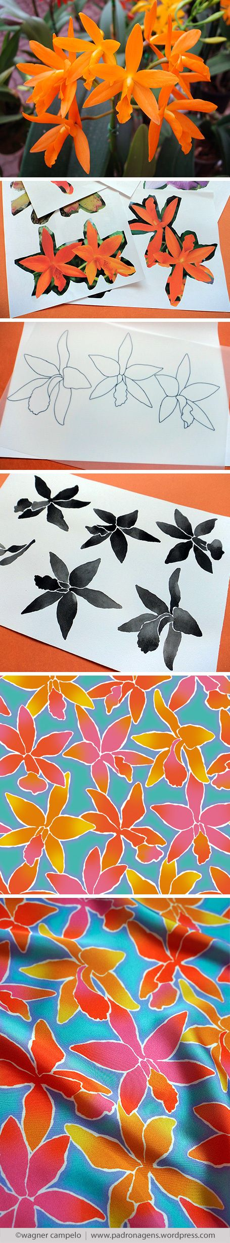Creative process for prints from photos   Orchids pattern.