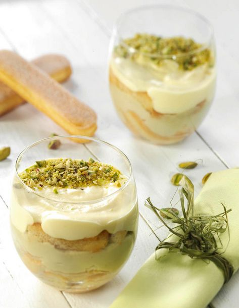 Pistachio Tiramisu. I would sub the Marsala and coffee with something else, but love the pistachio idea!