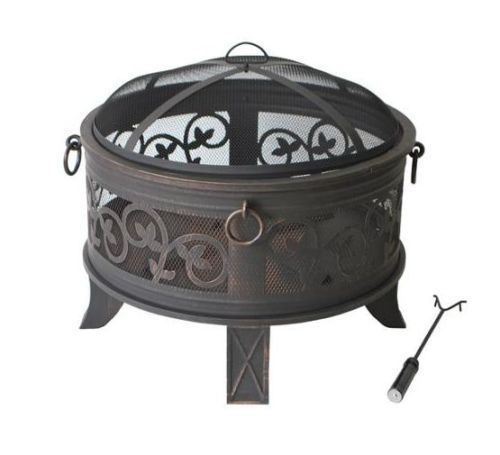 Outdoor Fire Pit Wood Burning Screen Cover Top Decorative Steel Backyard Cookout #Generic
