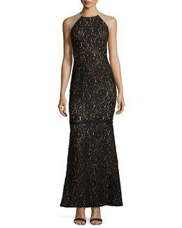 TAJGG Carmen Marc Valvo Sleeveless Lace Gown, Black/Nude