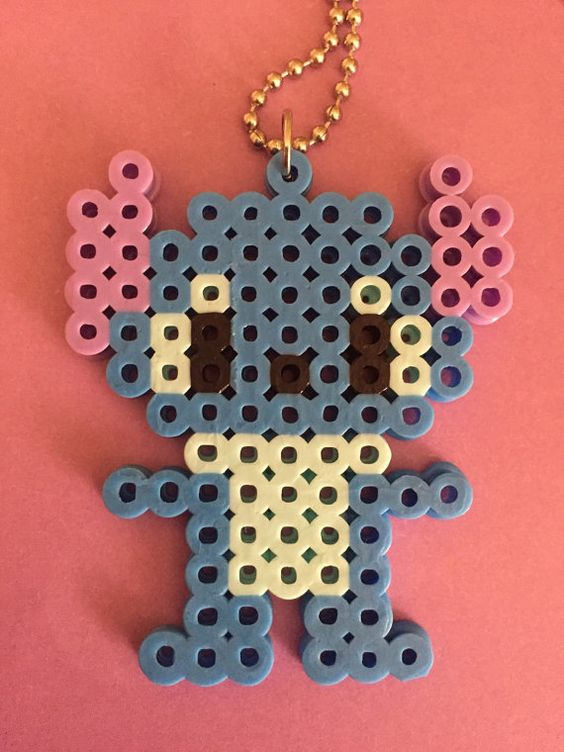 Disney stitch from lilo and stitch  inspired perler bead necklace