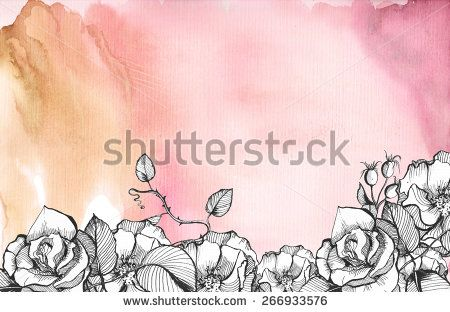 Brown, purple sky watercolor background with graphic floral rose hips and rose flowers.