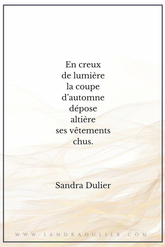 En creux de lumière - poésie - citation - automne - Sandra Dulier