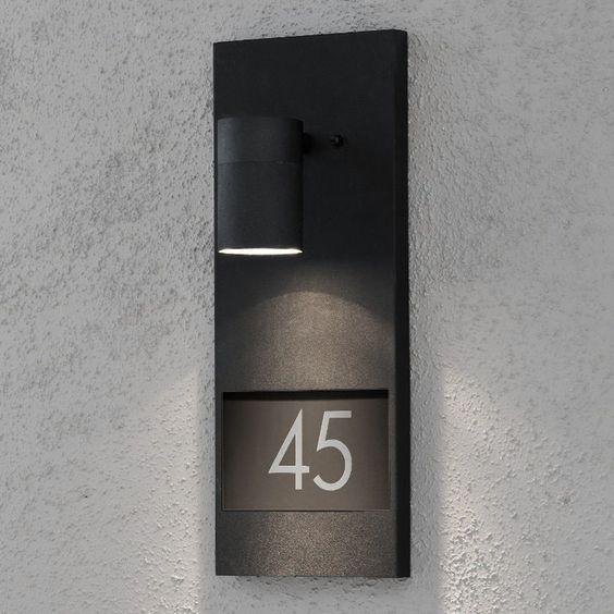 wandleuchte hausnummer beleuchtung au enleuchte wandlampe wand lampe leuchten ideen rund ums. Black Bedroom Furniture Sets. Home Design Ideas
