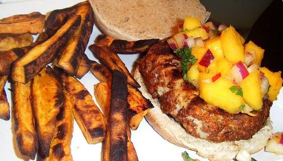 Caribbean Spiced Chicken Burgers with Mango Salsa