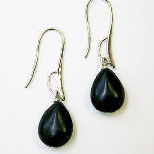 Silver Drop Earrings | Black