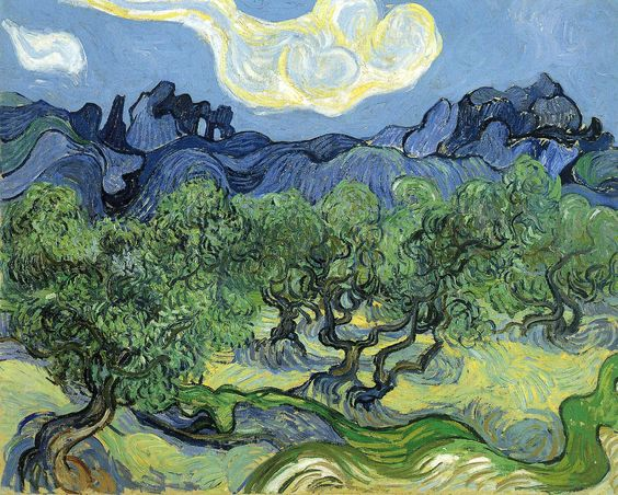 The Alpilles with Olive Trees in the Foreground - Vincent van Gogh 1889 - Place of Creation: Saint-Rémy, Provence, France.............#GT