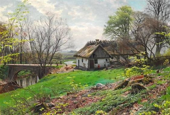 Artwork by Peder Mork Monsted, Summer day with children playing behind a thatched farm, Made of oil on canvas