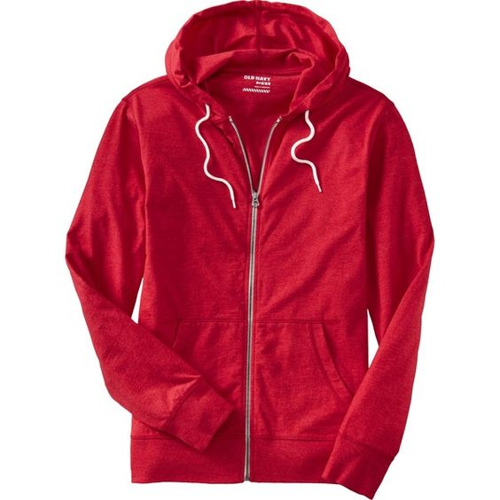 Old Navy Mens Lightweight Jersey Zip Hoodies - Robbie red (€13) ❤ liked on Polyvore featuring mens, men's clothing and men's hoodies