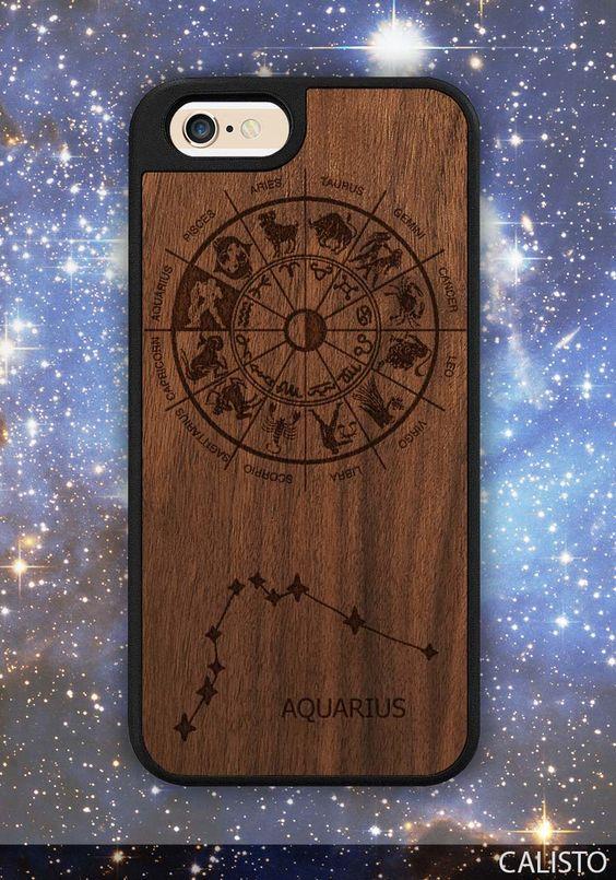 Zodiac Aquarius Sign Traveler Wood Case for iPhone 6 / 6s