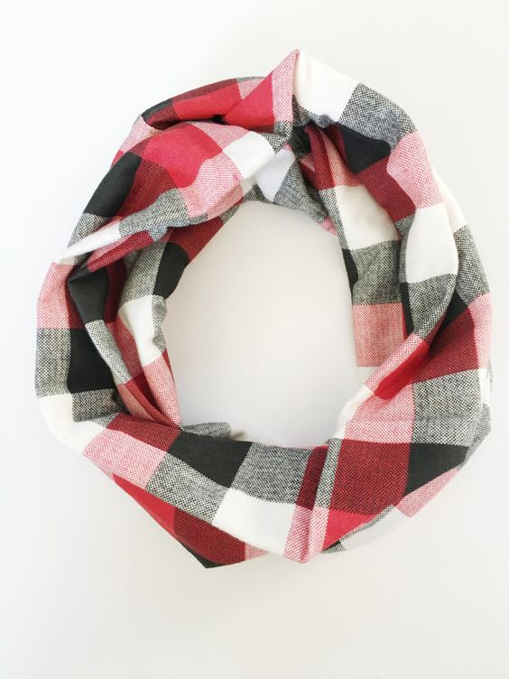 https://www.etsy.com/listing/253288948/red-black-cream-jersey-checkered-plaid?ref=listing-shop-header-0 Red Black Cream JERSEY checkered plaid infinity scarf / by MacieMe