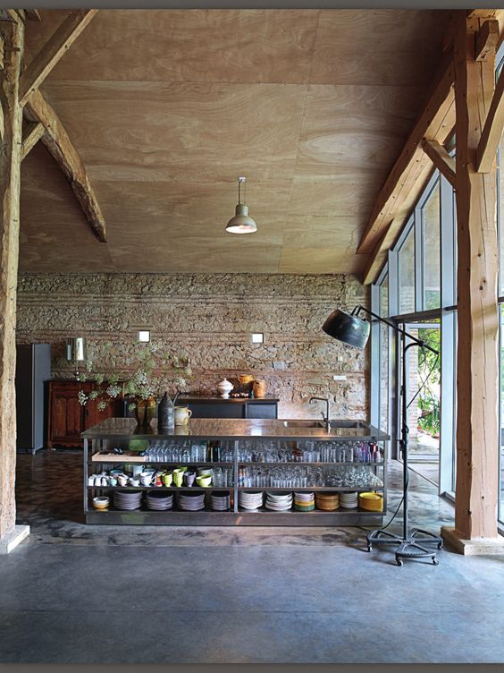 Rustic Industrial Is This Your Style Industrial Plywood Ceiling And Islands