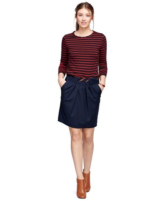 Cotton Crewneck Stripe KnitBlack-Red