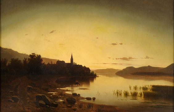 Adolf Chwala (1836-1900) - Vienna Lakes Landscape with Village View