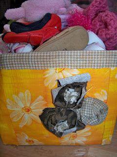 Turn an empty cardboard box into a cute kid's shoe box.