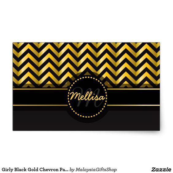 Girly Black Gold Chevron Pattern Monogram Rectangular Sticker