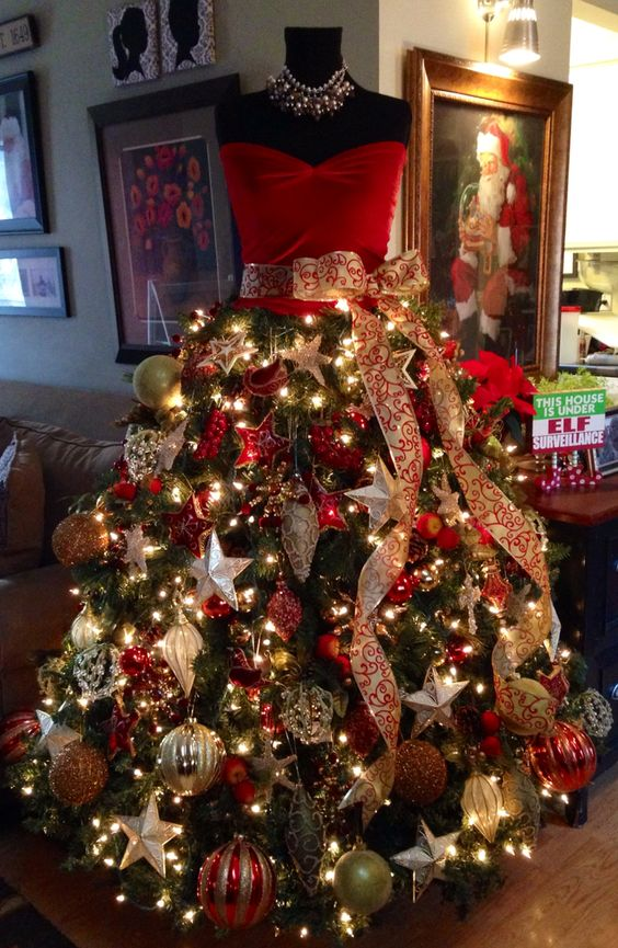 Beautiful red Christmas tree gown