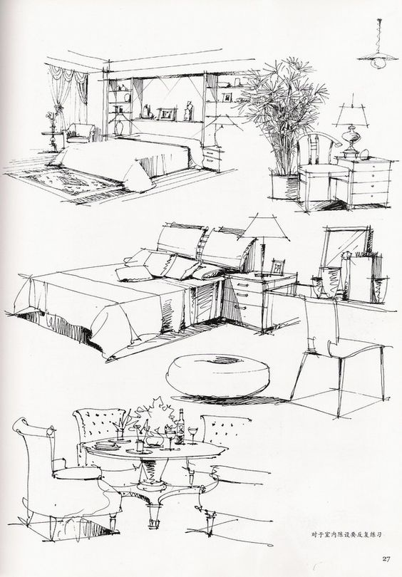 Hand renderings crisp and clean sketching pinterest for Furniture design sketches