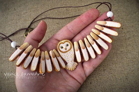 Barn Owl Neckalce OOAK Polymer Clay by VaniLlamaArt on Etsy: