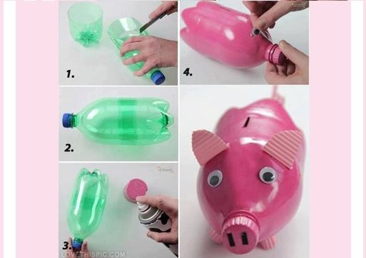 Diy piggy bank out of waste plastic bottle for Waste crafts making