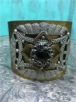 Renaissance Gypsy - Jewelry Antique gold cuff  embellished with vintage jewelry pieces