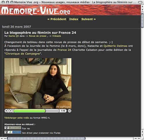 """Memoire-Vive : Natacha Quester-Séméon sur France 24 """"la blogosphère au féminin"""""""