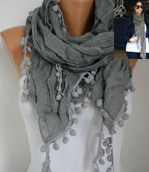 Gray Women Shawl Scarf  Headband Necklace Cowl by fatwoman on Etsy, $14.90