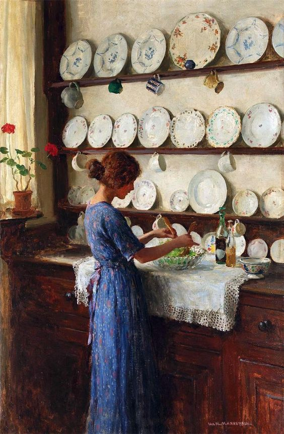 """The Lady of the House"" by William Henry Margetson.:"