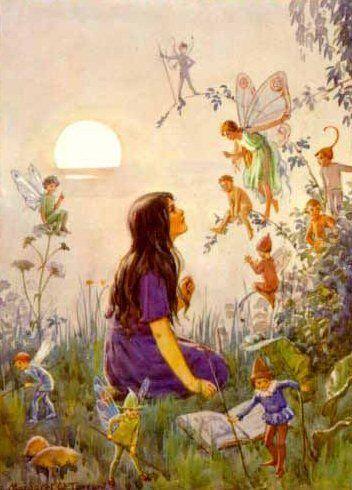Margaret Tarrant vintage postcard - Fairy Secrets: