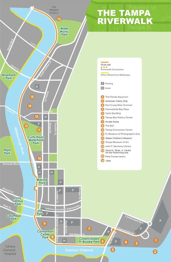 Tampa Riverwalk map...so this time we park in garage and know where to go to get to channelside to eat after