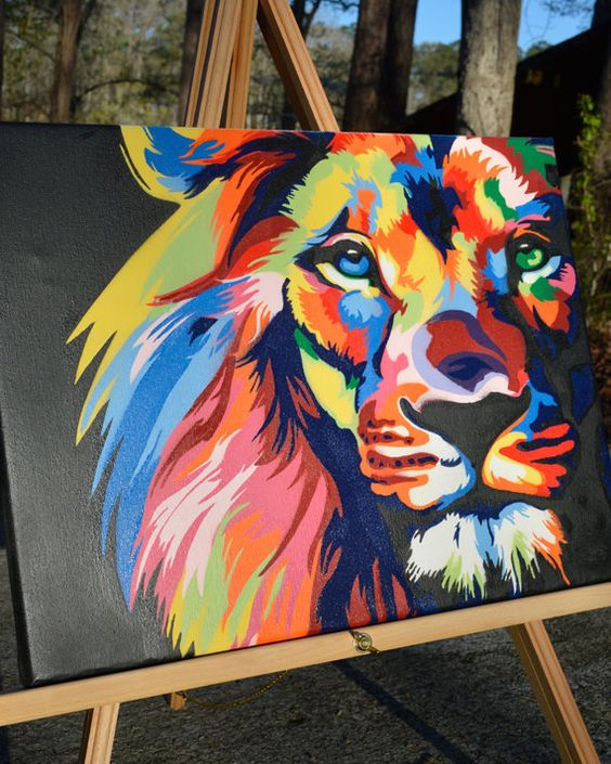color lion king of the jungle graffiti art spray paint canvas. Black Bedroom Furniture Sets. Home Design Ideas