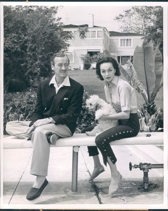David Niven and his wife ... and poodle: