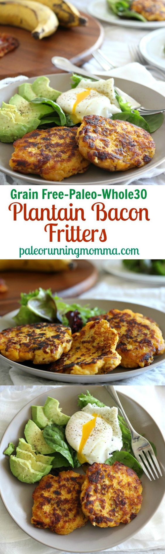 Easy and healthy recipe for Plantain Bacon Fritters {Grain free, #paleo, #whole30} with avocado and poached egg. #glutenfree #grainfree