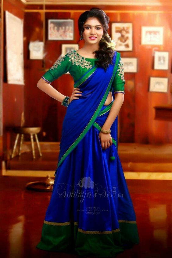 Silk Half Saree Designs Dressing Tips Keep Me Stylish Half Saree Designs Half Saree Lehenga Saree Hairstyles