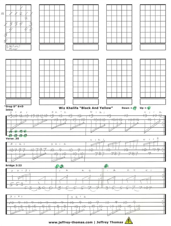 "Wiz Khalifa's ""Black And Yellow"" from my ultimate guitar tabs ..."