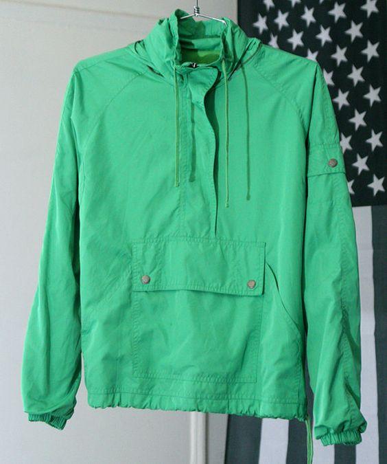 s a l e / / / Bright Green 90s Half-Zip Windbreaker Jacket with