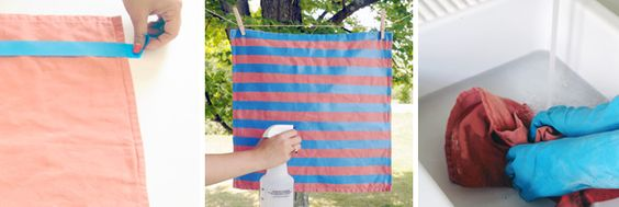 DIY ombre stripe pillow with bleach and tape!
