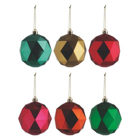 ROCA Set of 6 coloured diamond Christmas tree decorations