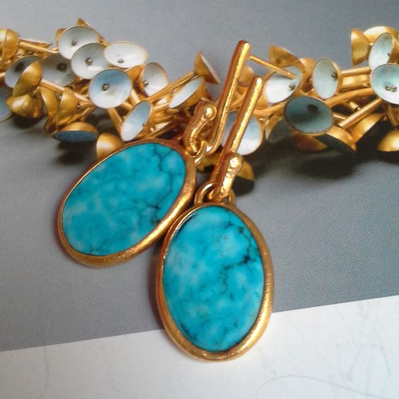 CALDER COLLECTION - S/Summer 2015 - Turquoise earrings - gold plated