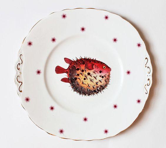 Perky Puffer plate by yvonneellen on Etsy, $46.00