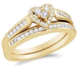 1 Carat Heart Shape Halo Diamond Wedding Set