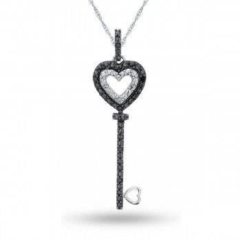 Sterling Silver Enhanced Black and White Diamond Key Pendant, 1/20 ctw. - by Samuels Jewelers