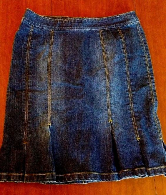 LADIES THE LIMITED DENIM SKIRT PENCIL SZ 12 DARK WASH JEAN MODEST PLEATS NO SLIT #TheLimited #StraightPencil