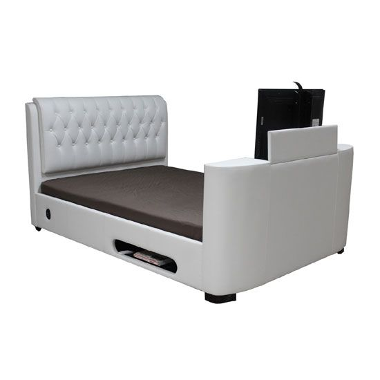 Cosmo White Faux Leather Finish King Size Tv Bed Tv Beds Modern