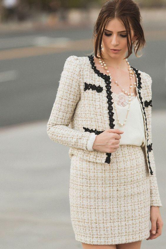 Bianca Gold and Cream Tweed Skirt – Morning Lavender | Work
