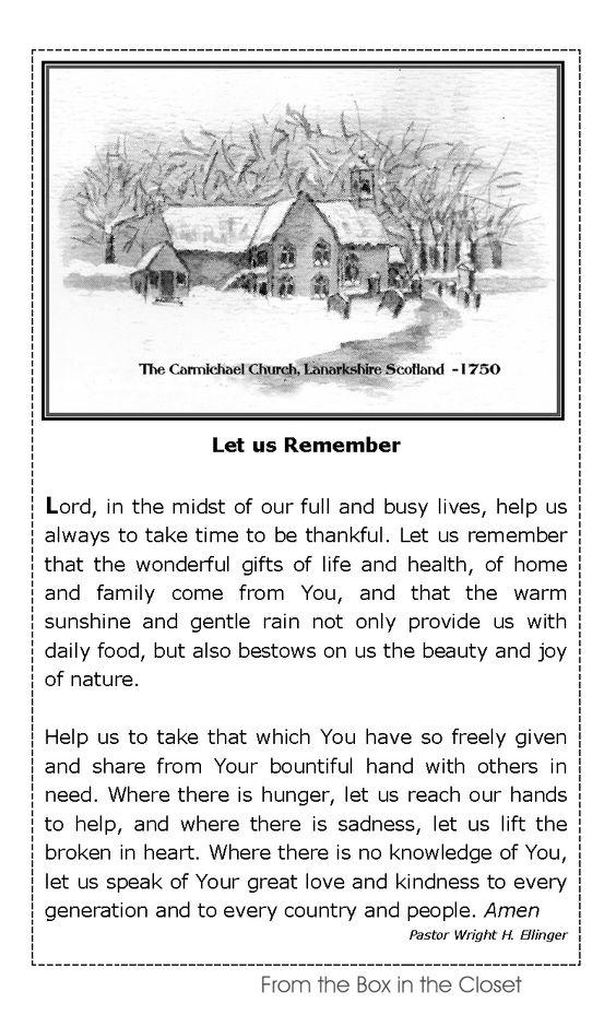 Pastor's Prayer W. H. Ellinger