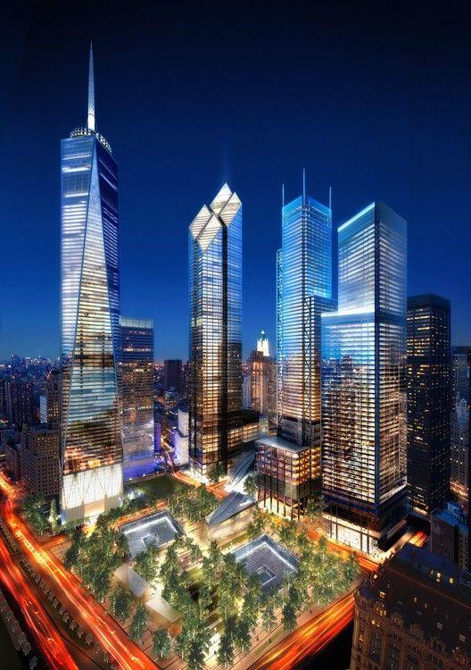 Ground Zero Master Plan / Studio Daniel Libeskind,WTC Site Night, Silverstein Properties, New York © Silverstein Properties