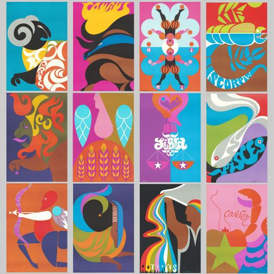 Set of Zodiac Prints: 1960S Zodiacs, Art Design, Design Art, Decorative Illustrations, Astrological Poster