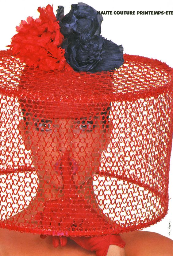 Haute Couture Printemps Eté '87  Elle France, March 1987  Photographer: Marc Hispard.  Model: Stephanie Seymour. Hat by Pierre Cardin.