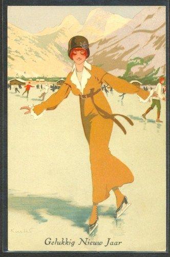 ART DECO WINTER  ICE SKATING LADY: